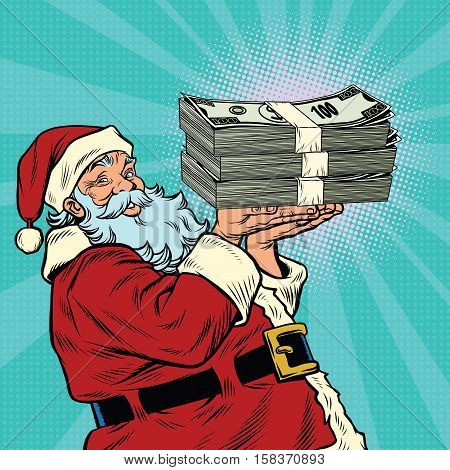 Santa Claus with a bundle of money dollars, pop art retro vector illustration. The annual bonus. Festive lottery