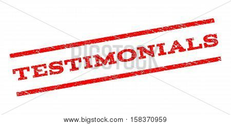 Testimonials watermark stamp. Text tag between parallel lines with grunge design style. Rubber seal stamp with scratched texture. Vector red color ink imprint on a white background.