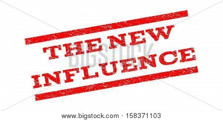 The New Influence watermark stamp. Text caption between parallel lines with grunge design style. Rubber seal stamp with dirty texture. Vector red color ink imprint on a white background.