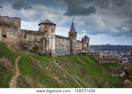 Walls of the ancient fortress in Kamyanets-Podilsky