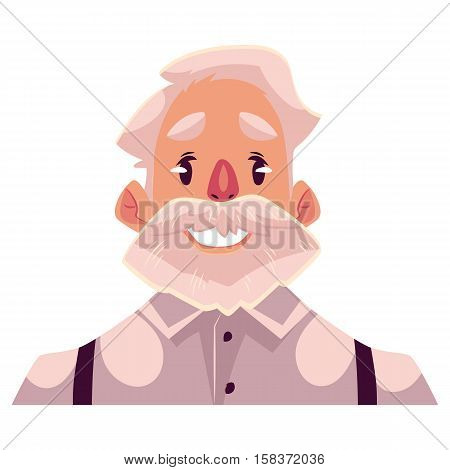 Grey haired old man face, smiling facial expression, cartoon vector illustrations isolated on white background. Old man emoji with wide smile, white teeth. Happy, glad, smiling face expression