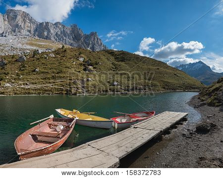 Pictorial Partnun Lake With Rowing Boats, Switzerland