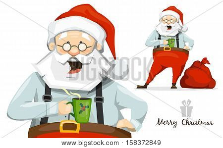 Santa Claus drinking hot tea from a cup. Coffee break