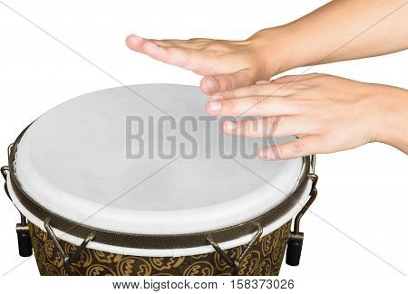 Hands Playing on the Bongo Drum - Isolated