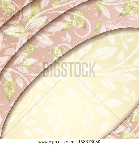 Leveled floral background with floral ornament and copy space.