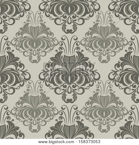 Seamless ornate vintage wallpaper pattern with flower buds.