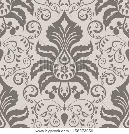 Seamless ornate vintage wallpaper pattern with flowers