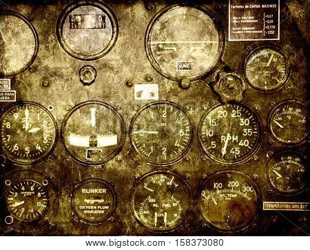 Grunge background with paper texture and retro control panel in a war plane cockpit