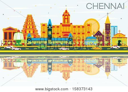 Chennai Skyline with Color Landmarks, Blue Sky and Reflections. Business Travel and Tourism Concept with Historic Architecture. Image for Presentation Banner Placard and Web Site.