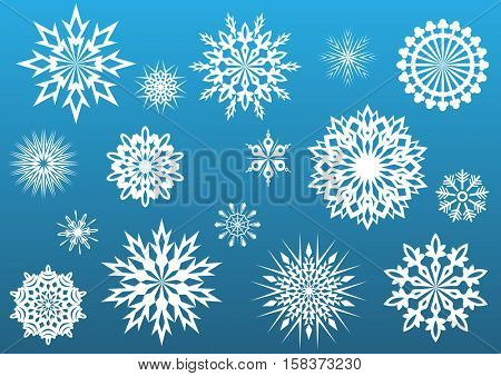 Snowflake shapes set isolated on blue background. Raster illustration.