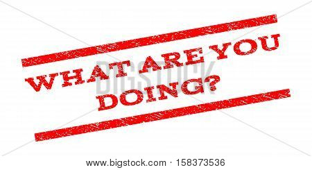 What Are You Doing Question watermark stamp. Text tag between parallel lines with grunge design style. Rubber seal stamp with unclean texture. Vector red color ink imprint on a white background.