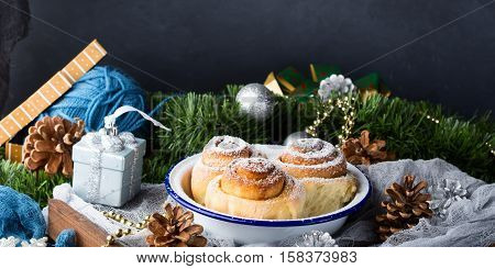 Cinnamon Roll Buns And Christmas Decorations. Banner