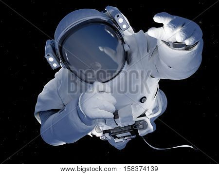 Astronaut on a black background., 3d render