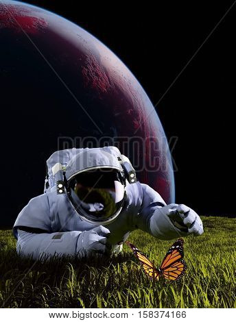 Astronaut and butterfly on the grass.3d render