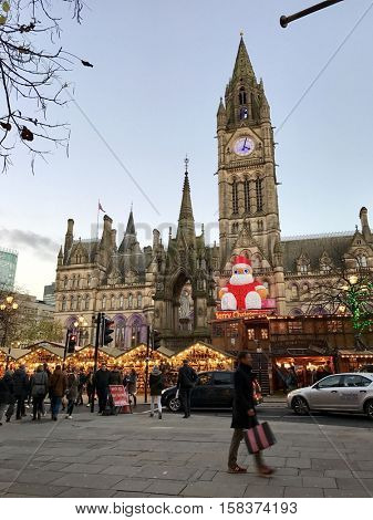 MANCHESTER - NOVEMBER 24: The Christmas Market at Albert Square on November 24, 2016 in Manchester, UK.