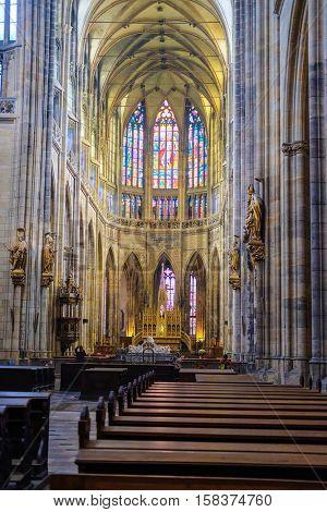 Prague, Czechia - November, 21, 2016: interior of St. Vitus Cathedral  in Prague Castle, Czechia