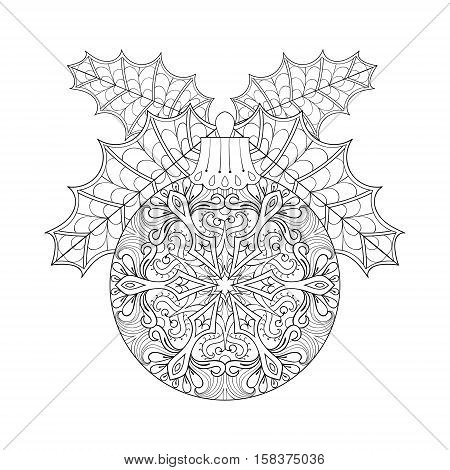 Vector vintage Christmas ball with mistletoe, New Year 2017 freehand decoration element. Artistic patterned illustration for adult coloring book pages. books, art therapy. Winter symbol Isolated on white