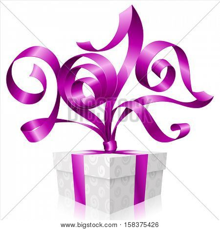 Vector purple ribbon and gift box isolated on white background. Symbol of New Year 2017