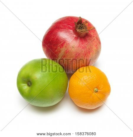 Pomegranate, apple, tangerine on white isolated background. Element of design.