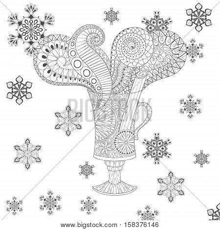 Vector glass of hot mulled wine in zentangle, doodle style. Sketch for tattoo, postcards, adult anti stress coloring page.