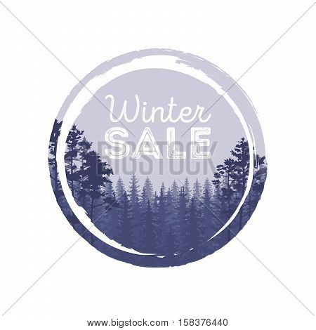 Winter Sale Words On The Beautiful Chrismas Flat Winter Holidays Landscape Background With Trees, Sn