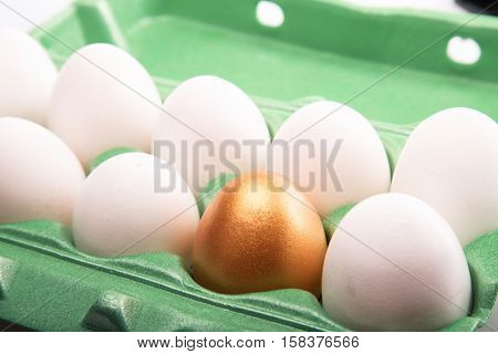 Golden Egg With White Eggs In Egg Box Close-up