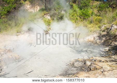 a big pool of toxic sulfur around the area of Benguet,Cordillera Region, Philippines