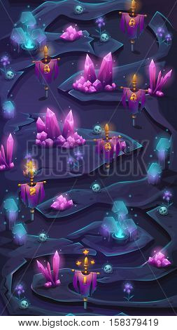 Vertical mobile map scrolling user interface with cristal bush and check points. Background vector image for mobile game.