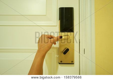 hold the hotel luxury doorknob for entrance