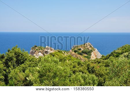 Kastro view in Skiathos island in Sporades Greece
