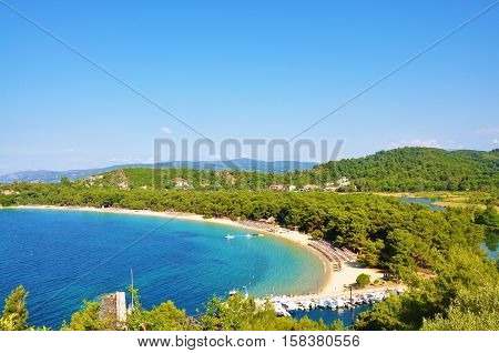 Koukounaries beach bay view in Skiathos Sporades islands