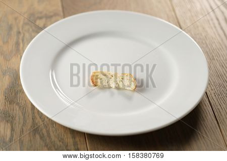 white plate with single dry slice of baguette bread, focus on bread
