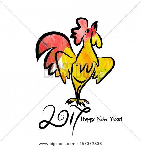Year 2017 of rooster chinese new year design. Graphic line art sketch of cock with red watercolor fill.