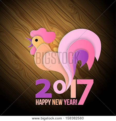 Colorful poster of a rooster isolated on wood background. Good for prints, covers, posters, cards, gift design. Happy 2017 Chinese New Year card.