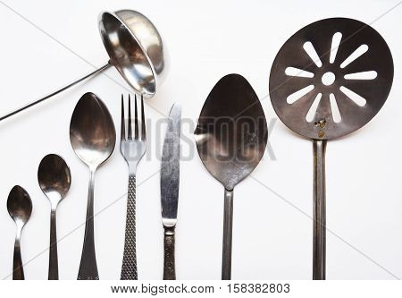 the range of Cutlery, forks, spoons, ladles, skimmers