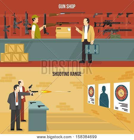 Two horizontal flat weapon banners with men choosing a gun and shooting at charges isolated vector illustration