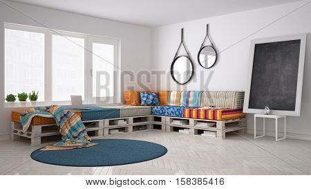 DIY pallet couch sofa scandinavian white living interior design, 3d illustration
