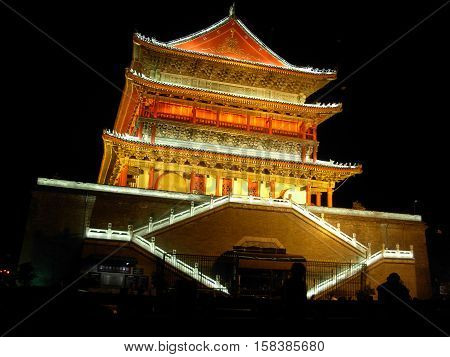 Xi 'An, Shaanxi province, China - Night view of the Bell tower