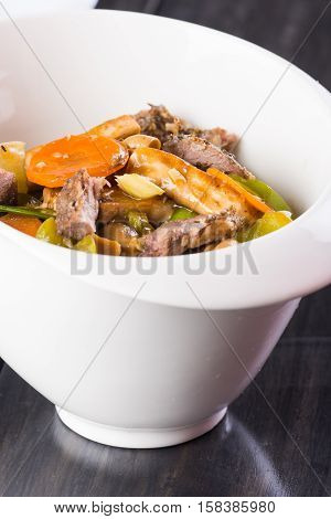 lamb meat with carrots and celery in hoisin sauce