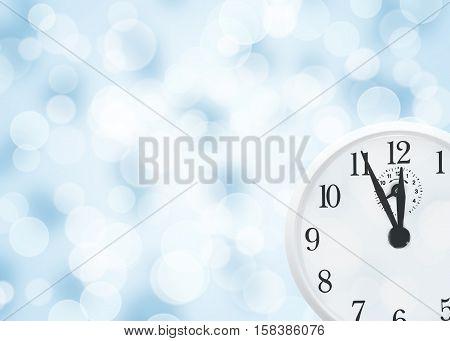 White clock with shining light christmas background