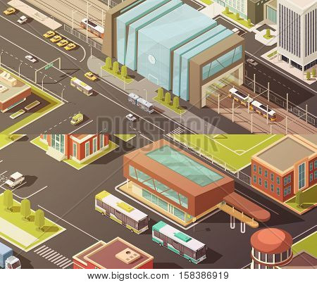 Government buildings isometric horizontal banners set with establishment symbols isolated vector illustration