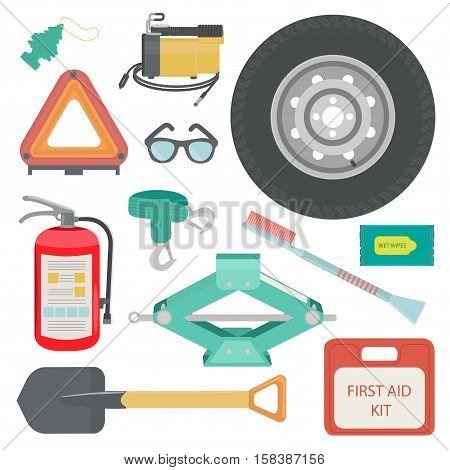 Wet wipes, tow rope, first aid kit, fire extinguisher, spare wheel, shovel, brush and scraper, warning triangle, car air compressor. Vector illustration.