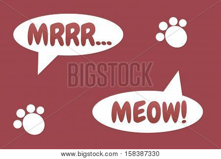 Meow! MRRR... Illustration of kitten's footstep. Kitten's pad. Cat's conversation