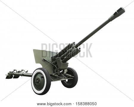 Military anti-aircraft gun on white background