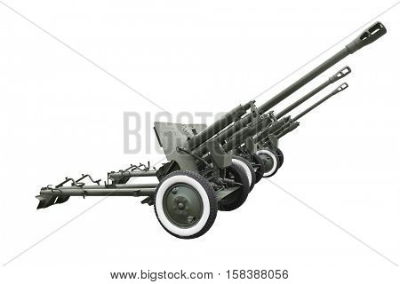 Military anti-aircraft guns on white background