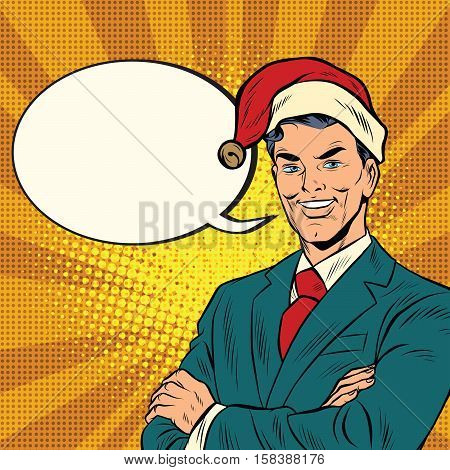 Businessman in a Christmas hat. Pop art retro vector illustration. The holidays and the New year