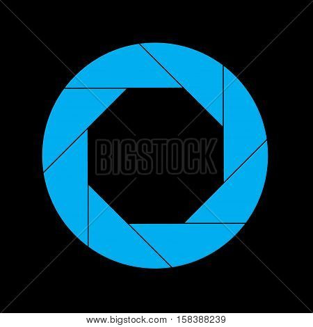 Cyan Shutter Vector Icon Isolated on Black