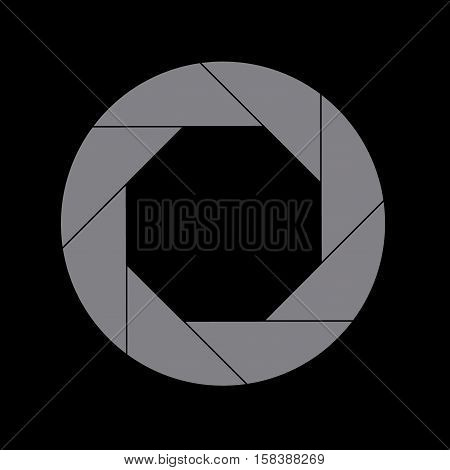 Sixty Percent Gray Shutter Icon Isolated on Black