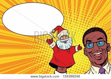 African businessman with hand puppet Santa Claus, Pop art retro vector illustration. New year and Christmas. Homemade puppet theater
