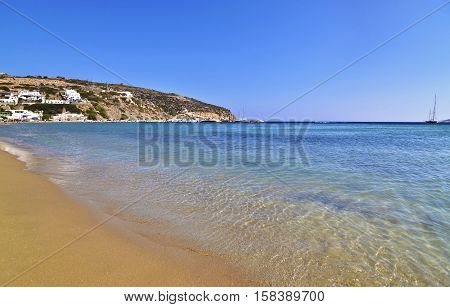 Platys Gialos beach at Sifnos island Cyclades Greece